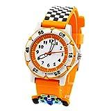 ele ELEOPTION Waterproof 3D Cute Cartoon Digital Wristwatches Time Teacher Gift for Little Girls Boy Kids Children Environmental Friendly Silicone Watch (Racing Track Orange)