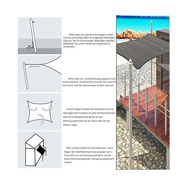 51ooi2PkH S EUGAD Sonnensegel Quadrat 2x2m Sonnenschutz 200g/m² Garten Balkon Terrasse HDPE Wetterschutz atmungsaktiv Grau 0177ZYF
