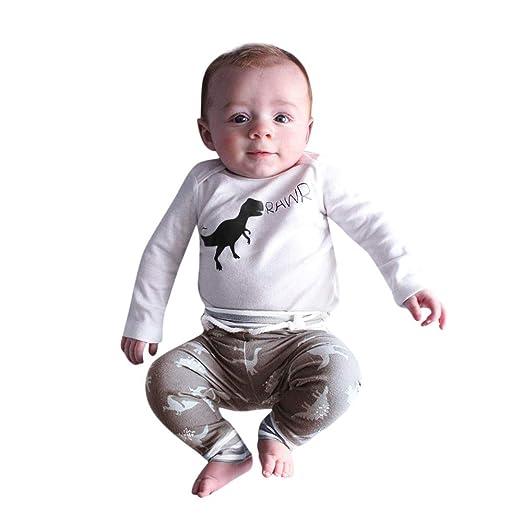 d551906a202b Amazon.com  Keliay Newborn Infant Baby Girl Boy Dinosaur Romper Tops  Bodysuit Pants Hat Clothes Set  Clothing