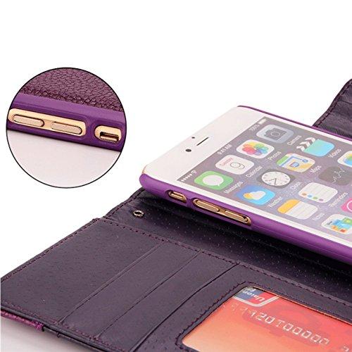 Leather 3 Case 1 Cover iPhone Wallet Wallet Cash Card Closed X Built in Case Buckle Removable Warehouse Purple Magnetic Slots Phone KelaSip Xs Purple Flip qtZ1UZ