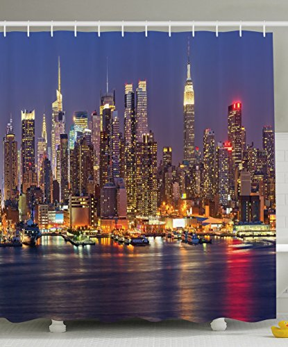 Ambesonne Cityscape Shower Curtain Art Deco by, NYC New York City Night Skyline Scenery View Artwork Picture Prints, Fabric Bathroom Shower Curtain Set with Hooks, Blue/Taupe/Purple/Yellow/Orange