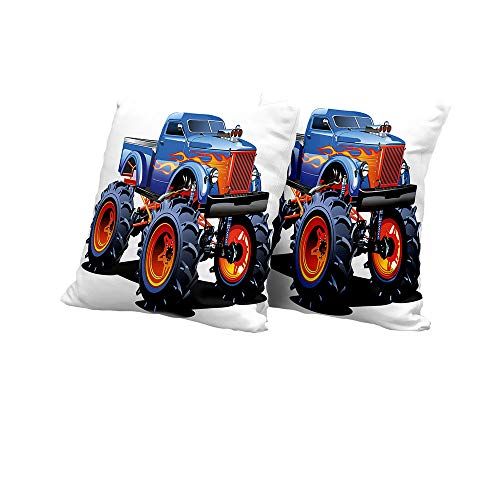 All of better Lumbar Cushion Cover Man Cave Decor,Cartoon Monster Truck Huge Tyres Off Road Heavy Large Tractor Wheels Turbo,Multicolor Square Euro Sham Cushion Cover 24x24 INCH -