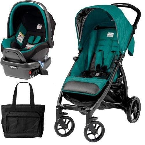 Peg Perego - Booklet Stroller Travel System with Diaper Bag - Aquamarine by Peg Perego