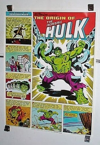 (1980 Hulk poster! Rare vintage original 1980's Origin of the Incredible Hulk 28 by 22 inch Coca Cola Coke Marvel Comics poster pin-up 1: Sal Buscema)