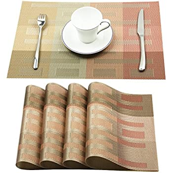 Homcomoda Placemats Vinyl Dining Table Mats Heat Resistant Place Mats For  Kitchen Table Set Of 4