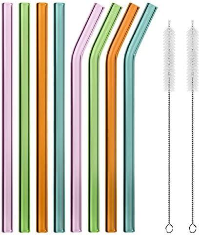 [Gesponsert]MELLIEX Glas Strohhalm Wiederverwendbar Mehrfarbig Glas Trinkhalme Eco Nachhaltige Strohhalme Für Cocktail Smoothie Tee, 8er Set Mit 2 Reinigungsbürsten (4 Farbe)