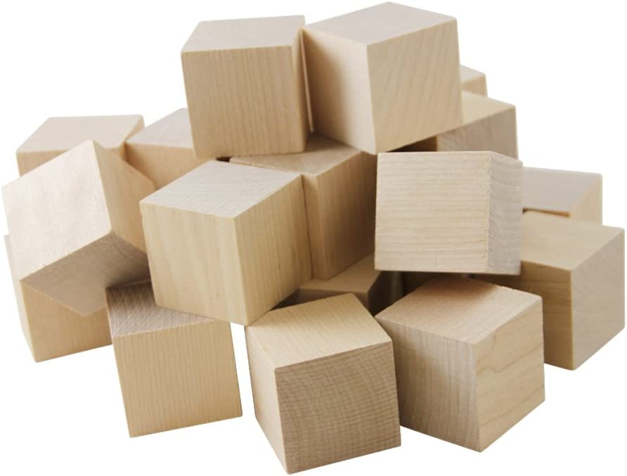 1 Inch Wooden Cubes, Kasten 50 Unfinished Birch Cubes, Wooden Square Baby Blocks, für Puzzle Making, Crafts, und Diy Projects durch Woodpeckers