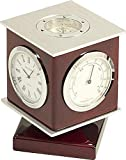 Rosewood Weather Station with Clock, Thermometer, Hygrometer, Compass Top by Bey-Berk