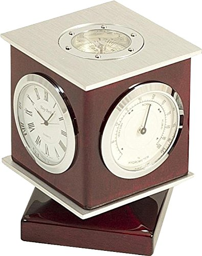 Rosewood Weather Station with Clock, Thermometer, Hygrometer, Compass Top by Bey-Berk by Bey-Berk