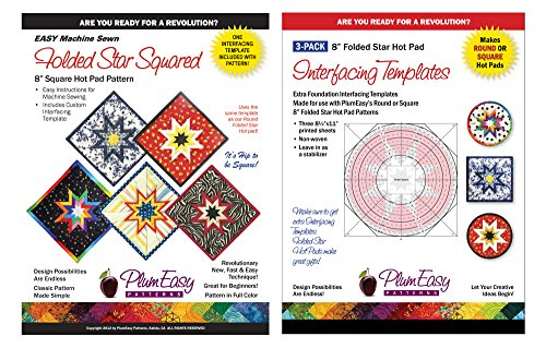 Folded Square Star Hot Pad Pattern Kit - Easy Machine Sewn Folded Star Pattern and 3 Pack Interfacing Template Refills By Plum Easy