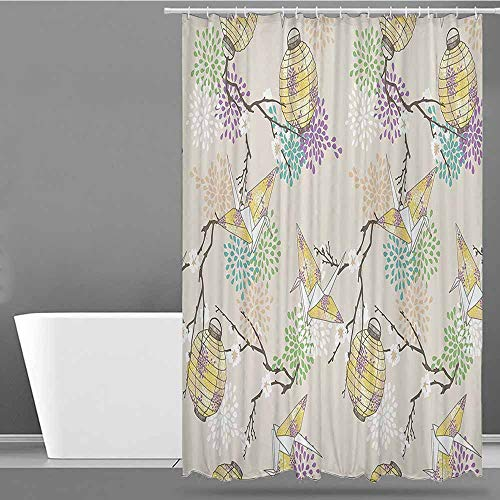 XXANS Hotel Style Shower Curtain,Lantern Decor Collection,Shower Curtains in Bath,W36x72L Lilac Pink Beige Yellow