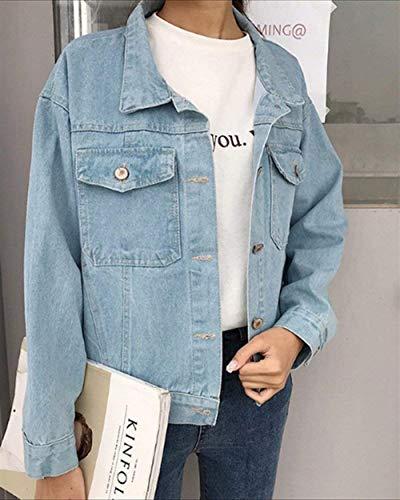Hell Fashion Bavero Lunghe Giacche Tasche Elegante Giacca Donna Stile Blau Autunno Con Maniche Battercake Donne Casuale Jeans Ragazze Streetwear Fidanzato Casual Button dY7qRwIYx