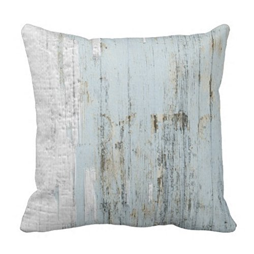 Wood Light Blue White Old Paint Shabby Chic Throw 1818 pillow Case (Shabby Chic Paint)