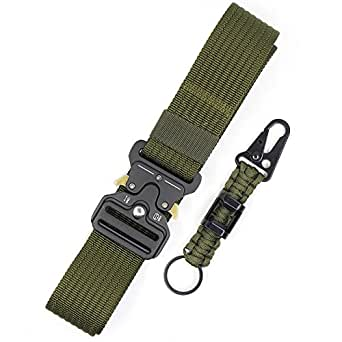 Tactical Belt for Men Green Heavy Duty Utility Police Waist Belt Military Style Army Gun Webbing Riggers Nylon Web Belts with Quick Release Metal Buckle and Extra Paracord Keychain Carabiner