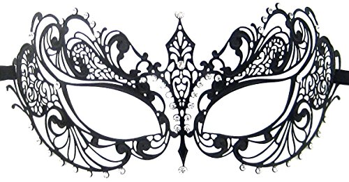 Burlesque Masks (Luxury Mask Women's Laser Cut Metal Venetian Pretty Masquerade Mask, Black/Clear Stones, One Size)