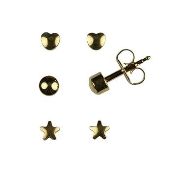 e11b50df2 Mytoptrendz® Sterilized Hypoallergenic Stud Earrings 24K Gold Tone Ear  Piercing Surgical Steel Multi-Shape