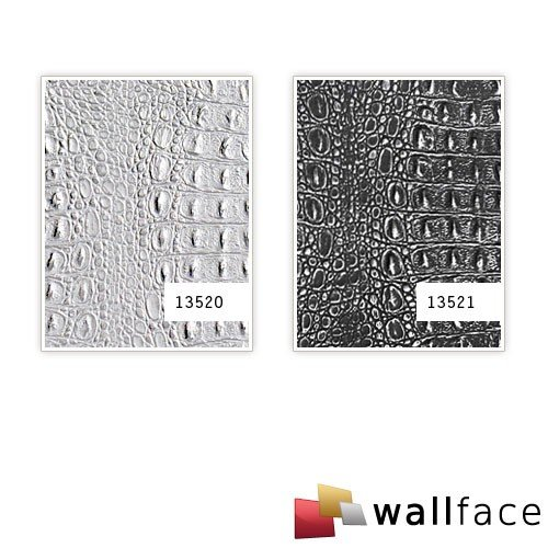 WallFace 13521 CROCO Wall panel textured 3D interior decor luxury wallcovering self-adhesive black silver | 2,60 sqm by Wallface (Image #4)