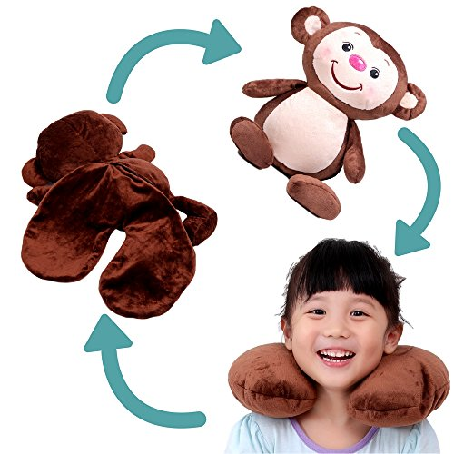 Kids Travel Neck Pillow Is Convertible To Favorite Take-Along Toy Your Child Will Love -- Microbeads Keep Head Upright and Comfortable Even on Long Car and Plane Trips a Carry On Must - Rectangle Tube Beads