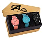 Acnos Special Super Quality Analog Watches Combo Look Like Preety for Girls and Womne Pack of – 3(605-BLK-ORG-SKY)