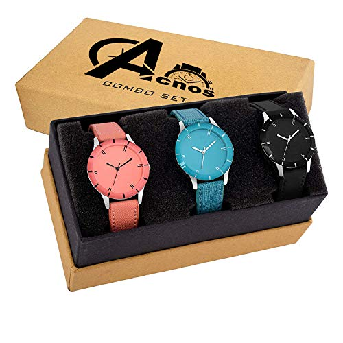 51ookN2R2LL. SS500  - Acnos Special Super Quality Analog Watches Combo Look Like Preety for Girls and Womne Pack of - 3(605-BLK-ORG-SKY)