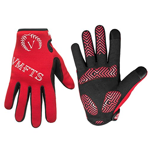 VMFTS Cycling Gloves Full Finger Motorcycle Gloves Outdoor Winter Work Gloves Touch Screen Men Womans for Driving Camping Hiking Riding Biking Running Hunting Fishing Shooting,Red Medium