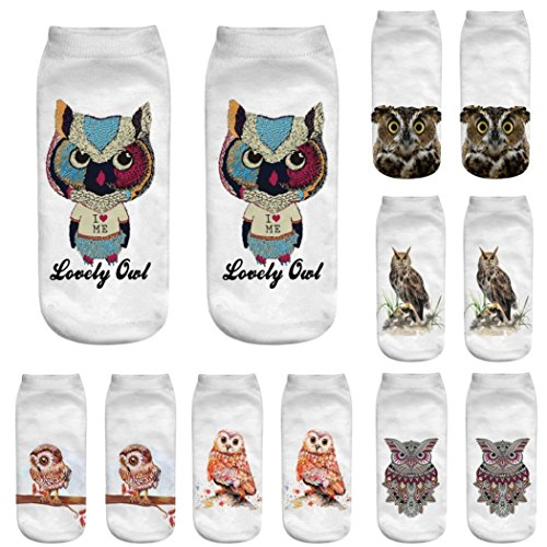 Chaussettes Respirant Courtes Pour Socks Owl 3d Animaux Multicolore Chic En Adeshop Paire Élasticité Imprimées 3 Pattern 1 7qtBEB