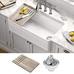 Kitchen Kraus KFR4-33GWH Turino Reversible Fireclay Single Bowl Kitchen Sink, 33, Gloss White modern kitchen sinks