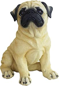 Danmu 1Pc of Polyresin Pug Dog Statue Garden Statues, Outdoor Statues, Garden Ornaments, Yard Statue for Home and Garden Decor (7 2/5
