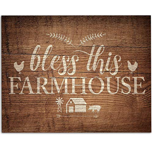 Bless This Farmhouse - 11x14 Unframed Art Print - Great Gift for Farmers or Country Decor, Also Makes a Great Gift Under $15 (Printed on Paper, Not Wood) - Ranch 11