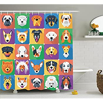 Dog Lover Decor Shower Curtain By Ambesonne, Dog Breeds Profiles Pets  Shepherd Terrier Labrador Domestic