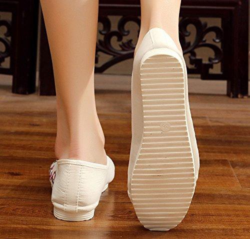 Slip Da Donna In Fiore Color Pesca Avacostume Slip On Dance Dress Shoes White
