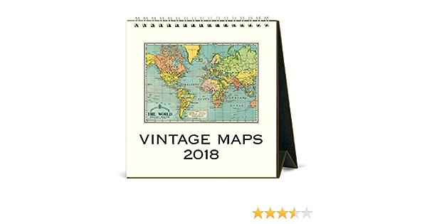 2018 Vintage Maps Desk Calendar Cavallini Papers /& Co