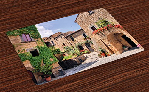 Lunarable Tuscany Place Mats Set of 4, Italian Streets in Countryside with Traditional Brick Houses Old Tuscan Prints, Washable Fabric Placemats for Dining Table, Standard Size, Brown