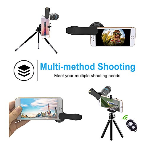 Smartphone Camera Lens, Vorida 6 in 1 iphone telephoto lens, 12X Telephoto Lens + 198° Fisheye Lens + 0.6X Wide Angle Lens + 15X Macro Lens+Tripod+Remote Control for iPhone X 8 7 6 Plus, Samsung,ect by Vorida (Image #2)