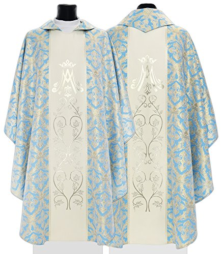 Cream/blue Marian Gothic Chasuble Vestment 085-NK55 - Chasuble Brocade
