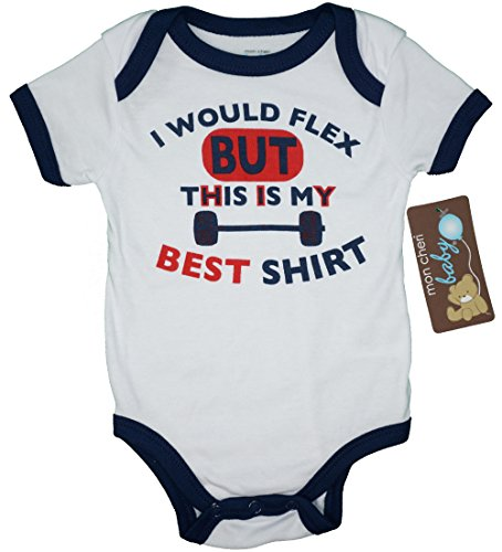 Mon Cheri Baby I Would Flex But This Is My Best Shirt Funny Baby Boy Girl Unisex Infant One Piece Bodysuit, 3-6 months, White