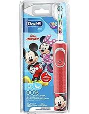 Oral-B Kids Musse elektrisk tandborste/elektrisk tandborste för barn från 3 år, 2 rengöringslägen för tandvård, extra mjuka borstar, 4 klistermärken, röd
