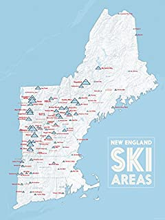 Amazoncom US Ski Resorts Map X Poster White Light Blue - Us ski resorts map