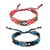 KELITCH Handmade Macrame Colour Candy Wide Bohemia Woven Friendship Bracelet Fashion New Jewelryn (Pink Blue 01C)