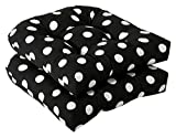 Set of 2 Outdoor Patio Wicker Chair Seat Cushions – Black & White Polka Dot Review