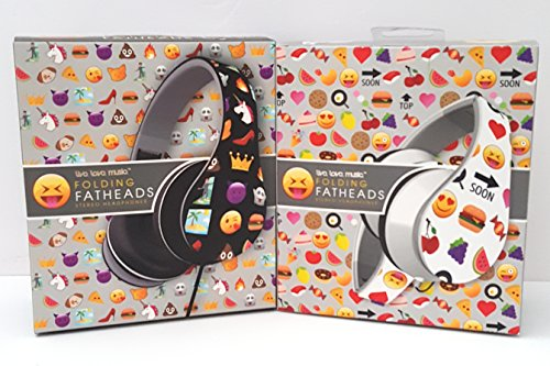 Black And White Two-face Costume (Emoji Print White Background & Emoji Print Black Background Folding Fatheads Headphones, Bundle of 2)