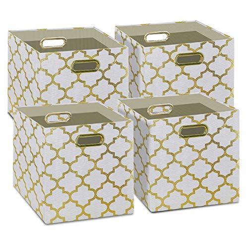 Storage Cubes -(Set of 4) Storage Baskets   Metal Handles   Cube Storage Bins   Hard Sided Foldable Closet Shelf Organizer   Drawer Organizers and Storage   (11