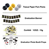 Graduation Party Supplies Bundle, Graduation Banner Sign, Graduation Photo Booth Props, Graduation Pom Poms and Graduation Confetti, 2018 Graduation Party Supplies, Graduation Decorations