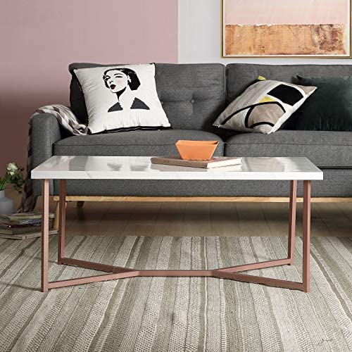 Goujxcy Industrial Coffee Table, Rectangle White Faux Marble Tabletop Rose Gold Y-Leg Metal Frame Rustic Sofa Side Table, Mid Century Modern Accent Furniture for Living Room