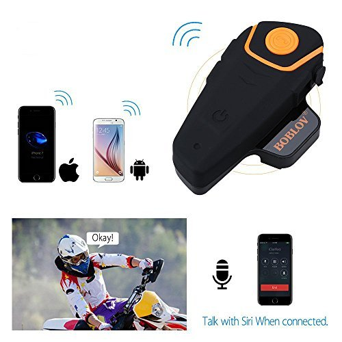 BOBLOV BT S2 1000M BT Motorcycle Helmet 2 or 3 Riders Headset Wireless Motorbike Interphone Hands Free and FM Radio