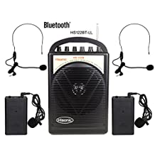 HISONIC HS122BT-LL Portable PA System with Dual Channel Wireless Microphones (Two handheland), Lithium Rechargeable Battery, Bluetooth Streaming Music From your Cell Phones,iPads, Android Pads and Computer, with Car Cable and Carry Bag, PA system, Black