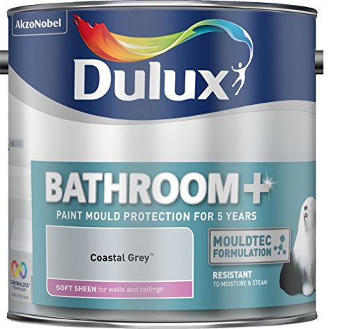 Price comparison product image Dulux 500001 2.5 Litre Bathroom Plus Soft Sheen Paint - Coastal Grey by Dulux