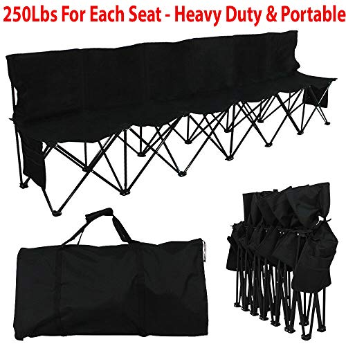 HighHoop 250Lbs Heavy Duty Portable 6 Seater Folding Bench Sport Sideline Chair Seat with Carry Bag Ideal Portable Seating Solution for Sports Teams Or Tournament Spectators Black