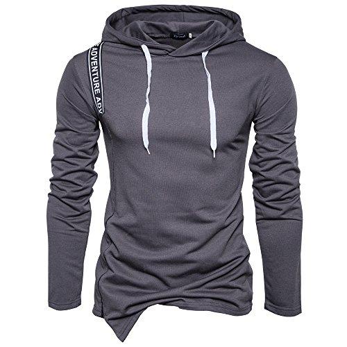 SparrK Mens Color Bar Spliced Oblique Hem Sweater Pullover Hoodie Darkgrey XXL