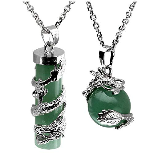 Jovivi 2pc Dragon Wrapped Green Aventurine Round Ball Cylinder Gemstone Healing Crystal Pendant Necklace Set